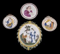 A pair of Staffordshire pearlware plaques of Pratt family type emblematic of Winter and Summer
