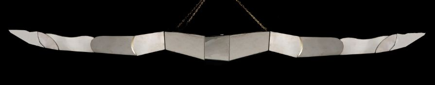 A modern geometric and mirrored ceiling light or ornament