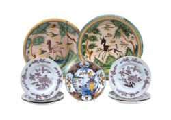 A selection of Dutch Delft and Spanish maiolica