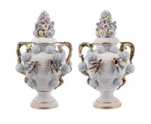 A pair of Jacob Petit porcelain schneebollen two-handled vases and covers
