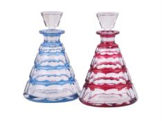 Two similar Val St. Lambert clear overlay glass decanters and stoppers