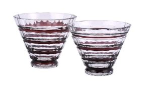 Two similar Val St. Lambert clear cut glass and dark ruby overlaid conical vases
