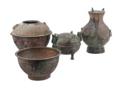 Three Chinese archaic style vessels