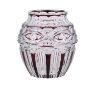 A Val St. Lambert clear cut glass and ruby overlaid large ovoid vase