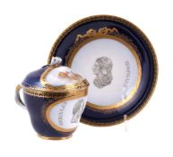 A Meissen (Marcolini) blue-ground and gilt cabinet cup