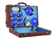 A Moscow porcelain (Francis Gardner) blue-ground and gilt tea service and leather carrying case