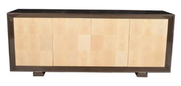 A lacquered Obeche wood and shagreen sideboard