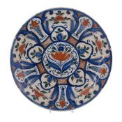 An English delft polychrome charger