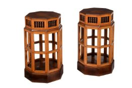 Y A pair of walnut and tulipwood pedestals