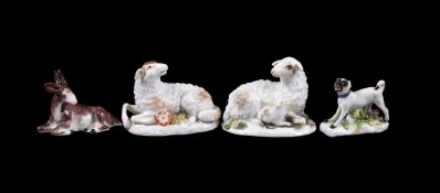 Two Meissen models of recumbent sheep