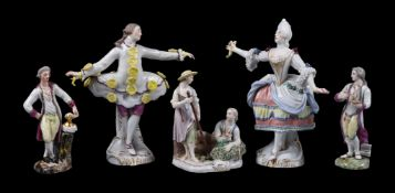 Two similar Ludwigsburg models of a sculptor and a painter emblematic of the arts