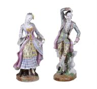 A pair of Continental porcelain figures of a gallant and companion