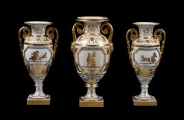 A garniture of three English porcelain Empire-style two-handled vases
