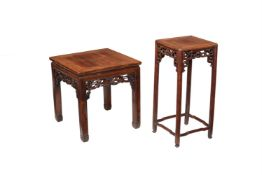 Two Chinese carved hardwood stands or occasional tables