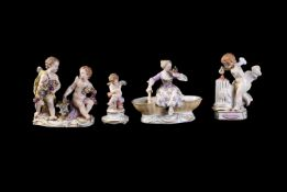 A miscellaneous selection of Meissen groups and figures
