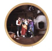A German porcelain round plaque painted with an interior scene after Franz Defregger