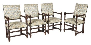 A set of four upholstered chairs in late 17th century style