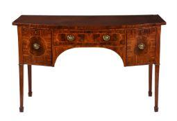 A George III mahogany and satinwood inlaid sideboard