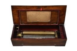 Y A Swiss mahogany, rosewood and inlaid music box