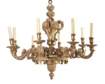 A large giltwood chandelier in 18th century style