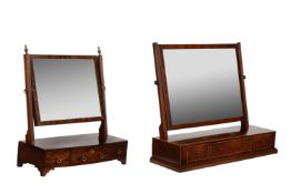 A mahogany and satinwood banded dressing table mirror
