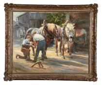 λ Hans Nickel (Czech/German 1916-1987), Blacksmiths and horses