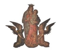 A Continental painting of Virgin and Child flanked by kneeling angels
