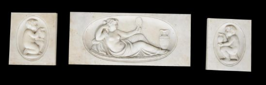 Three sculpted marble panels