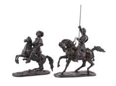 Two bronze groups of figures on horseback