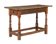 A Continental walnut and oak side table