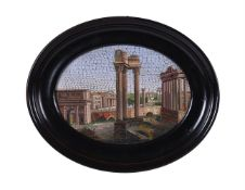 An Italian micromosaic plaque of the ruins of the Roman Forum