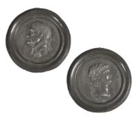 Two Grand Tour medallions of the Roman Emperors Nero and Galba. French