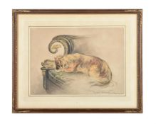 French school (20th century), Study of a Pekingese dog resting on a renaissance revival sofa
