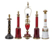 A pair of ruby glass ad gilt metal moulted mallet shaped table lamp bases in French taste