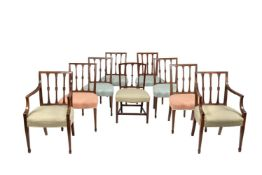 A harlequin set of nine mahogany dining chairs in George III style