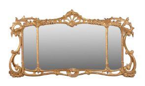 A giltwood triple plate wall mirror in George III style