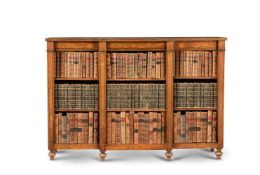 A simulated rosewood and brass inlaid open bookcase