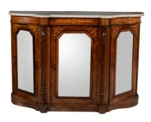 A Victorian walnut and marquetry inlaid side cabinet