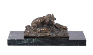 A French bronze model of a goat