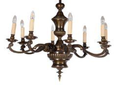 A bronzed metal chandelier in 18th century Continental taste