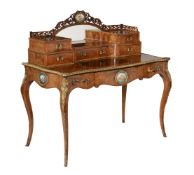 Y A Victorian figured walnut, porcelain and gilt metal mounted writing desk or dressing table