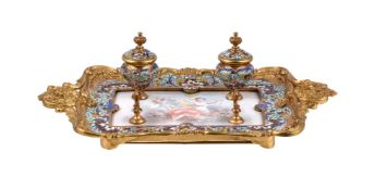 A French gilt-metal and cloisonné two-handled inkstand with pottery Sèvres-style insert