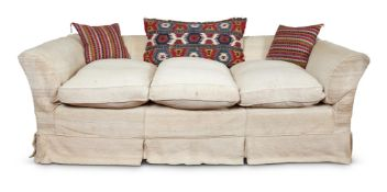 A LARGE HOWARD & SONS STYLE THREE SEAT SOFA