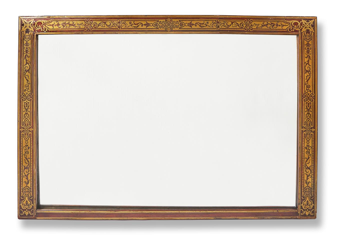 Y A ROSEWOOD AND CUT-BRASS OVERMANTEL MIRROR