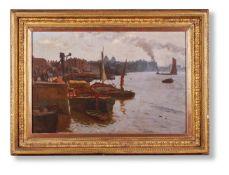 JOHN AULD (BRITISH ACT. 1870-1910), THE THAMES AT GREENWICH
