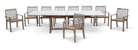 A SUITE OF HARDWOOD GARDEN FURNITURE20TH CENTURYComprising; a hardwood garden table