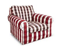 A STRIPED UPHOLSTERED ARMCHAIR, ROBERT KIME