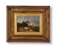 FOLLOWER OF EUGENE VERBOEKHOEVEN, SHEEP, LAMBS AND CHICKEN IN A LANDSCAPE