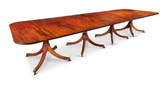 Y A LATE GEORGE III STYLE MAHOGANY FIVE PILLAR DINING TABLE, WILLIAM TILLMAN