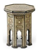 Y AN OTTOMAN MOTHER OF PEARL AND BONE INLAID OCCASIONAL TABLE